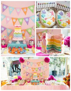 Rainbow Art themed birthday party