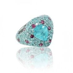 Pear Shape Paraiba Tourmaline ring 18K white gold with Rubies by Caroline C.