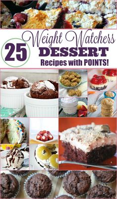 25 Delicious Weight Watchers Dessert Recipes with Points Plus for Weight Loss Weight Watcher Desserts, Weight Watcher Dinners, Plats Weight Watchers, Weight Watchers Snacks, Weight Loss Snacks, Weight Watchers Cupcakes, Weight Watchers Points Plus, Dessert Ww, Gastronomia