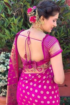 Latest Trendy Sari Blouse Back Design - Indian Fashion Ideas Lehenga Designs, Kurta Designs, Brocade Blouse Designs, Wedding Saree Blouse Designs, Saree Blouse Neck Designs, Simple Blouse Designs, Stylish Blouse Design, Blouse Patterns, Latest Blouse Neck Designs