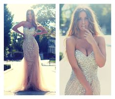 Mermaid Prom Dresses 2014 Long Crystal Rhinestone Cocktail Formal Evening Gown