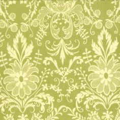 Green and Cream Damask Fabric Origins by by RaspberryCreekFabric, $6.60