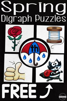 Kids will have fun with these cute and clever, FREE Spring Digraph Puzzles. Kids willlisten for the digraph in these spring themed literacy activity. Kindergarten Language Arts, Kindergarten Centers, Kindergarten Reading, Teaching Reading, Fun Learning, Kindergarten Worksheets, Guided Reading, Free Worksheets, Preschool Printables