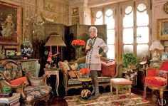 Designer and style icon Iris Apfel's exuberant and eclectic style is so evidently translated into her New York apartment. Her vast collection of art, her use of bold and bright patterns, and her humorous touches make her design aesthetic incredibly inspirational. One of my favorite pieces is