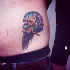 Tummy Tattoo, Belly Tattoos, Helmet Tattoo, Beard Tattoo, Biker Tattoos, Ancient Art, Traditional Tattoo, Body Art, Skull