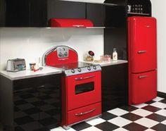 Northstar retro modern kitchen appliances.  this is seriously like my dream kitchen. i love that old retro look