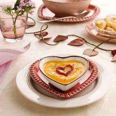 Crema de calabaza con corazones de hojaldre