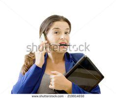 multitasking businesswoman - stock photo