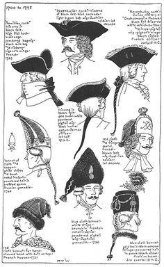 Various styles of hats in the 18th century.
