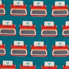 Stoff retro - KOKKA - Melody Miller - Vintage Typewriter rot - ein Designerstück von sew-what bei DaWanda