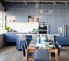 KITCHEN! Cabinetry colour – Dulux Mirage Blue. Flooring by Royal Oak Floors.   Photo – Eve Wilson.