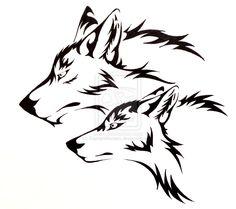Wolf Pair Tattoo Commission by CaptainMorwen.deviantart.com on @deviantART