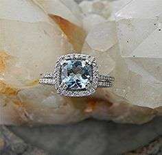 AAA 7x7mm 1.50 ct Natural Untreated Aquamarine Cushion cut  14K white gold Halo Bridal set with ..45 carats of diamonds HB88  1531