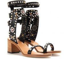 Isabel marant Caroll Embellished Leather Sandals With Block Heel bij MyTheresacom
