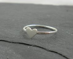 Heart Ring. Silver Hammered Band.  (size 5, fyi)