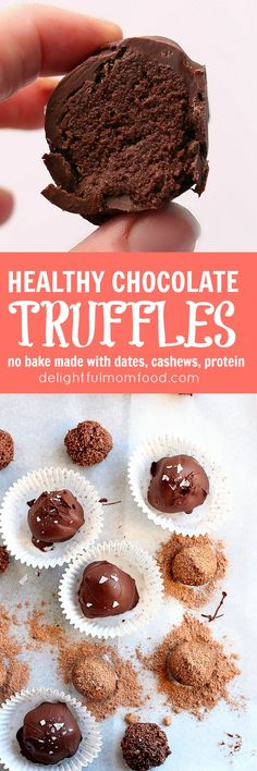 Raw vegan peppermint chocolate truffle recipe packed with protein powder and sweetened with dates and creamy cashews! No bake and super easy!