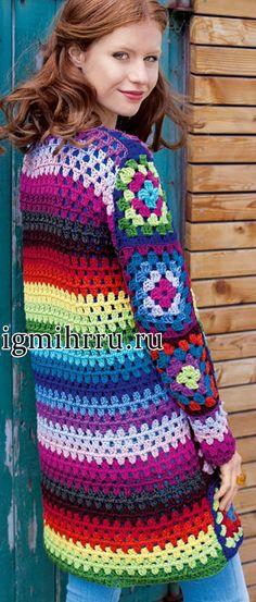 crochelinhasagulhas: Casaco colorido com square em crochê