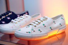 The Superga XO Jennifer Meyer shoes on display