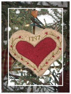 A Willow Ridge Primitives original design punch needle pinkeep / ornament