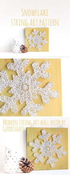 Snowflake string art pattern, perfect holiday craft for kids, great stress relief project for adults