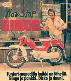 Tunturi-mopedilla kaikki on lähellä. Retro Humor, Vintage Humor, Retro Vintage, Worst Album Covers, Funny Ads, Good Old Times, Strange Photos, The Old Days, Classic Bikes