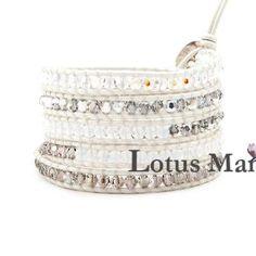 3b1f9dabd Lotusmann crystal wrap Adjustable bracelet Wrap Bracelet on Leather Pearl  Bracelet, Bangle Bracelets, Bangles