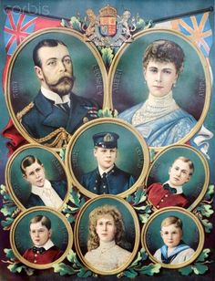 Family of George V and Queen Mary. Queen Elizabeth's dad Albert(George VI) is in the middle left