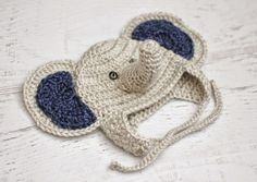 #crochet elephant baby hat pattern free from Repeat Crafter Me