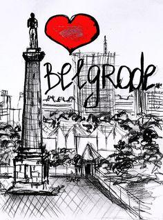 Cities Drawing - I Love Belgrade by Sladjana Lazarevic