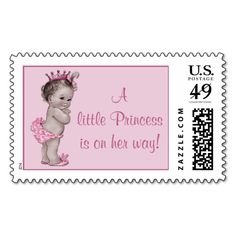 A Little Princess is on Her Way Vintage Baby Stamp