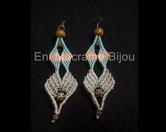 Long Macrame Earrings  #macramejewelry #pinkmacrame #bluemacrame #chandelierearrings #longearrings #handmadeearrings #earringssale #woodbeads #vintagefashion