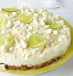 No bake limetten Frischkäse tarte mit Baiser