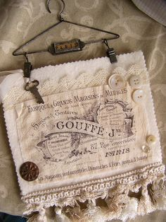 Vintage Style Fabric and Lace Collage by QueenBe1,   Simple, but so very pretty!