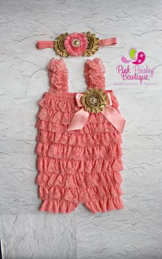 Coral and Gold Baby Girl's First Birthday by Pinkpaisleybowtique