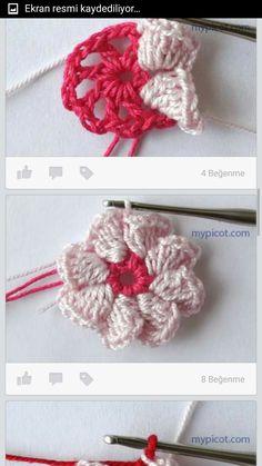 Florzinha em crochê com pétalas em forma de copinhos Knitted Flowers, Crochet Flower Patterns, Crochet Motif, Crochet Doilies, Crochet Gifts, Diy Crochet, Loom Knitting Stitches, Crochet Squares, Crochet Accessories