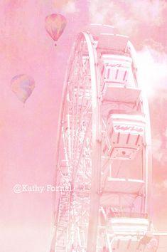 "Carnival Ferris Wheel Photos - Dreamy Baby Pink Carnival Art, Baby Child's Room Nursery Decor, Ferris Wheel Photos 8"" x 12"". $28.00, via Etsy."