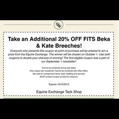 I know what I'm doing today! Print this out and bring it in to receive 20% OFF ! Plus you can more prizes at the end of the month! @equine_exchange