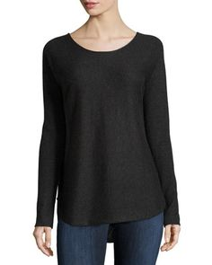 Wool-Blend+Shirttail+Pullover+Sweater,+Gray-Black+by+Vince+at+Neiman+Marcus+Last+Call.