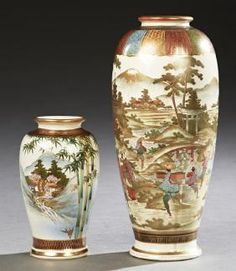 Two Japanese Satsuma Baluster Vases, 20th C., The