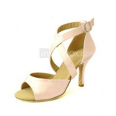 Customizable Women's Dance Shoes Latin/Salsa Satin Customized Heel Black/Blue/Yellow/Pink/Purple/Red/White/Fuchsia - GBP £24.49