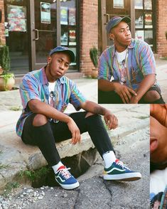 Vintage Outfits Discover Vans Old Skool Skate Shoe - Blue / Green / Yellow Vans Outfit Men, Swag Outfits Men, Outfits Hombre, Summer Outfits Men, Stylish Mens Outfits, Retro Outfits, Vintage Outfits, Black Men Street Fashion, 80s Fashion Men