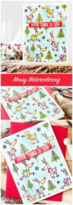 Messy watercoloring of this fun Rudolph Christmas card. Find out more by clicking on the following link: http://limedoodledesign.com/2016/09/messy-watercoloring/