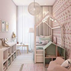 Schmales Kinderzimmer für Mädchen mit attraktiver Beleuchtung
