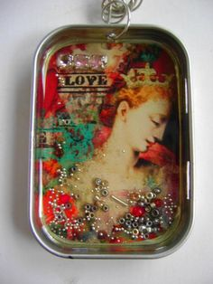 mixed media jewelry. *Eco art board*paint*seed beads*chain*lace stencil*diamond glaze*liquid leaf*  OH YES