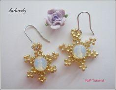 Golden Snowflake Moonstone Earrings