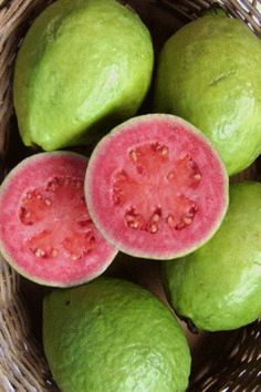 "Guavas - deep pink. Guava fruit generally have a pronounced and typical fragrance, similar to lemon rind but less sharp. Guava pulp may be sweet or sour, off-white (""white"" guavas) to deep pink (""red"" guavas), with the seeds in the central pulp of variable number and hardness, again depending on species."