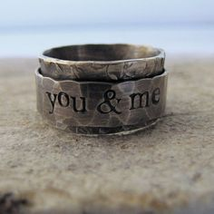 Rustic Spinner Ring - personalized - recycled metal from tinahdee beautiful jewelry. Jewelry Rings, Jewelry Accessories, Jewelry Design, Etsy Jewelry, Ring Verlobung, Unique Rings, Rings For Men, Just For You, Wedding Rings
