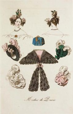 1833 fashion plate Modes de Paris, turbans, hairstyles, and pelerine