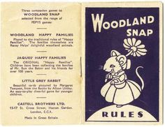 booklet from Woodland Snap card game published by Pepys Games (Castell Brothers Ltd), c.1960
