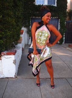 DIY Scarf dress. Tutorial via Glitter N Glue http://glitternglue.com/2012/08/09/celebridiy-inspiration-devon-aokis-silk-scarf-dress/